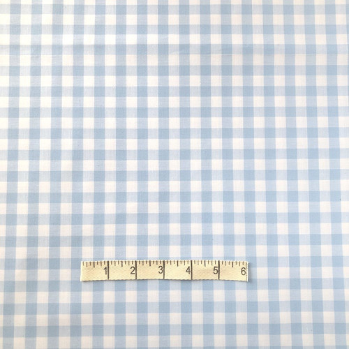 Pale Blue Gingham Cotton Fabric