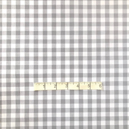 Grey Gingham Cotton Fabric