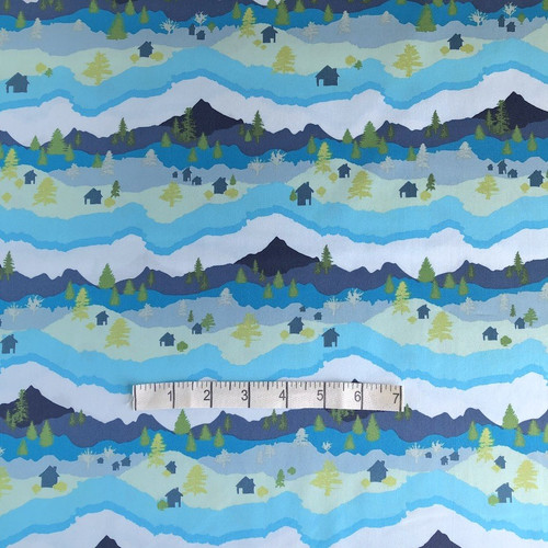 Blue Mountain Scape Cotton Print Fabric