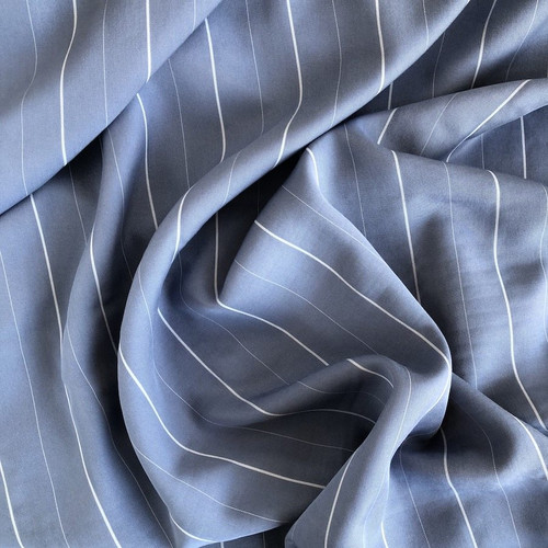 Blue Stripe Tencel Fabric