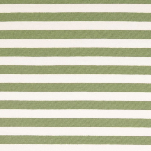 Olive/White Stripe French Terry Fabric