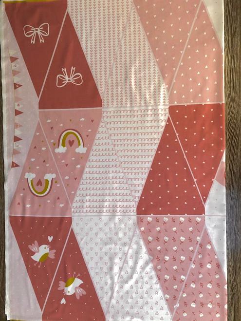 Pink Bunting Cotton Print Fabric Panel