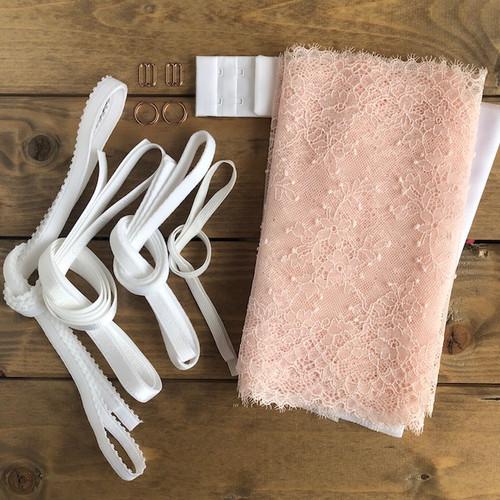 Pale Pink/White Spot/Flower Lace Bra 8229 Kit
