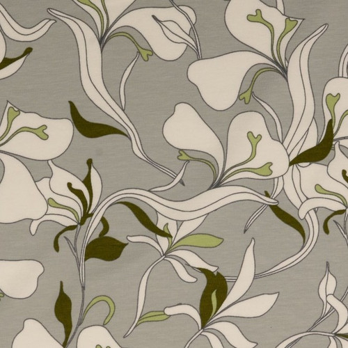 Pale Grey Abstract Flower Stem Cotton Jersey Print Fabric