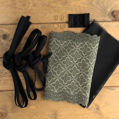 Sage/Black Squares Lace Bra 8229 Kit
