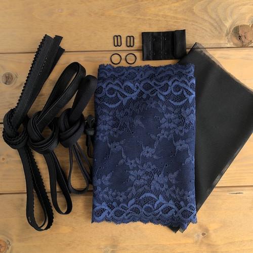 Navy/Black Floral Lace Bra 8229 Kit