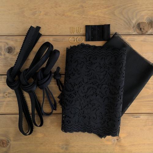 Black Floral Lace Bra 8229 Kit