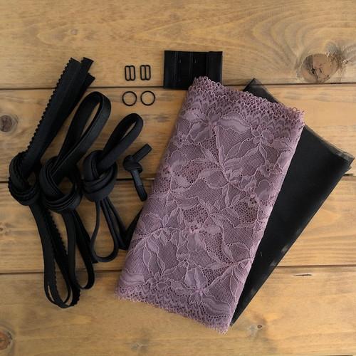 Mauve/Black Floral Lace Bra 8229 Kit