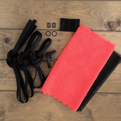 Neon Coral/Black Floral Lace Bra 8229 Kit