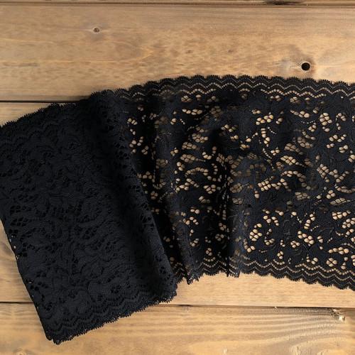 Black Floral 19 cm Stretch Lace