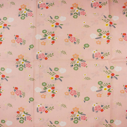 Pink Ditsy Flower Cotton Print Fabric