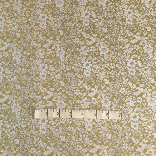 Light Olive Small Vintage Floral Cotton Print Fabric