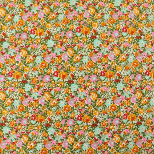 Green Floral Brushed Cotton Print Fabric