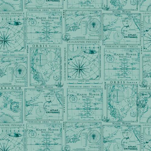 Aqua Map Cotton Print Fabric