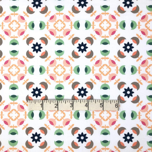Green Heritage Medals Cotton Print Fabric