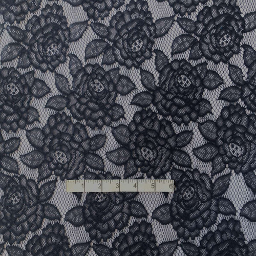 Navy Floral Polyester Lace