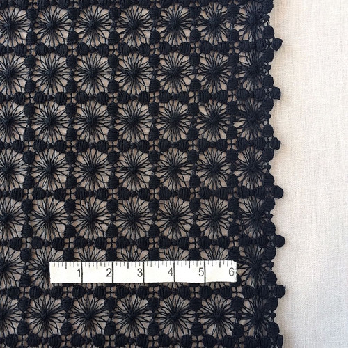 Black Daisy Corded Lace Fabric