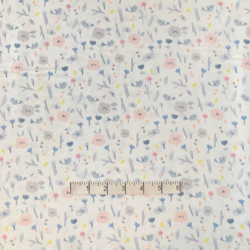 Ivory Floral Organic Cotton Print Fabric