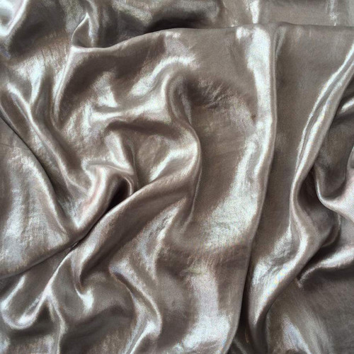 Taupe Airwashed Foil Fabric