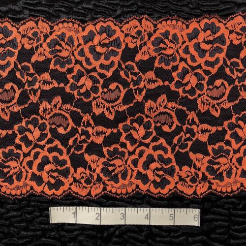 Orange/Black Floral 18cm Stretch Lace