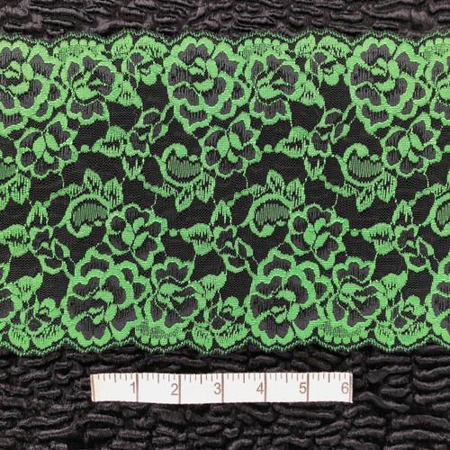 Green/Black Floral 18cm Stretch Lace