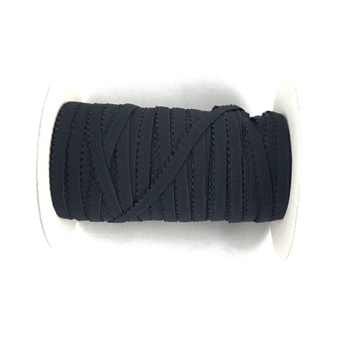 Black 9mm Crown Edge Plush Back Elastic
