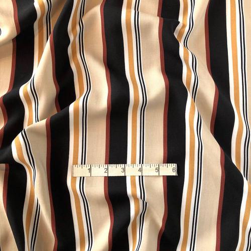 Mustard/Black Stripe Viscose Print Fabric