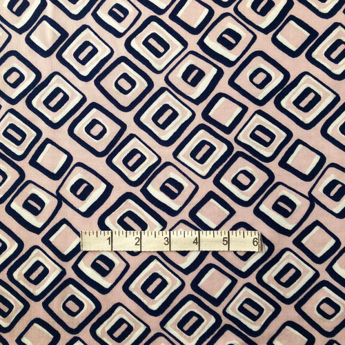 Pink/Navy Square Viscose Twill Print Fabric