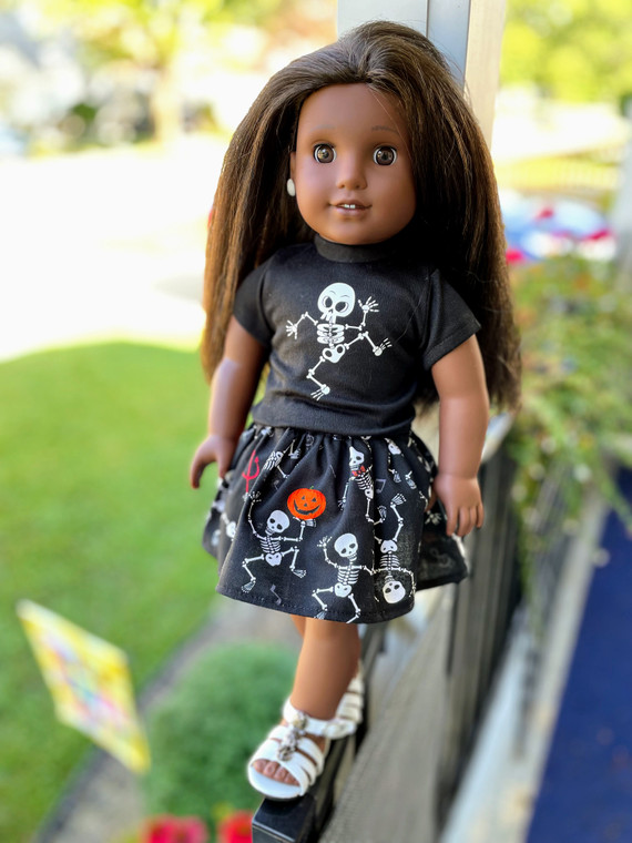 Dancing Skeleton inspired 18 inch doll outfit