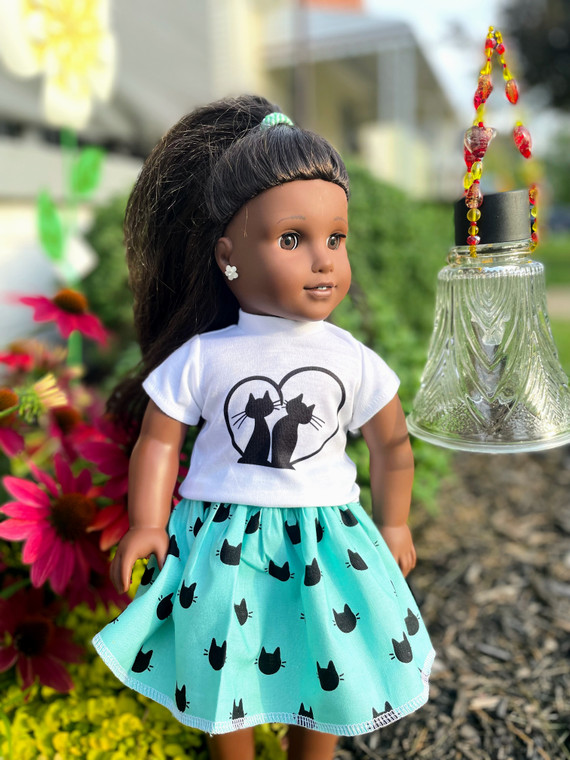 Love of cats inspired 18 inch doll outfit