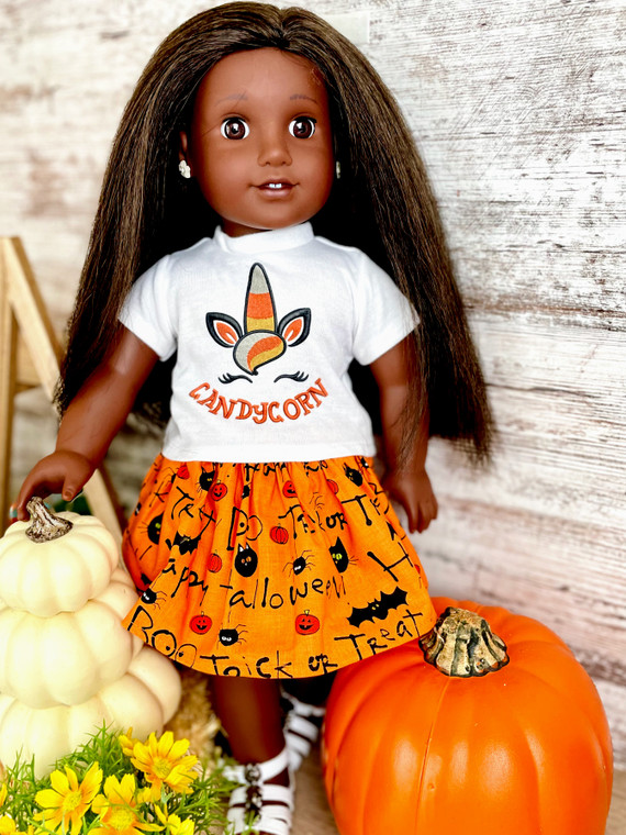 Candycorn inspired 18 inch doll outfit