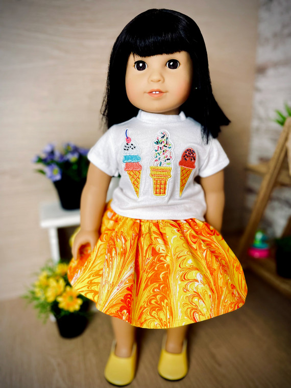 Ice Cream inspired 18 inch doll outfit