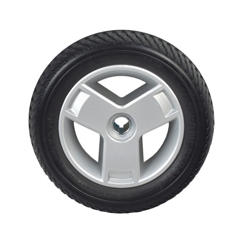 """USED 9""""x3"""" (2.80/2.50-4) Black Flat-Free Rear Wheel Assembly with Silver Tri-Spoke Rim for the Go-Go Elite Traveller Plus (SC53/SC54), Elite Traveller Plus HD (SC53HD/SC54HD), & Sport (S73/S74)"""