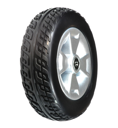 USED Front Wheel Assembly with Black Molded Tire for Pride Victory 9, Victory ES 9, and Go-Go Sport 3-Wheel Scooters