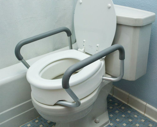 Elongated Oblong Toilet Seat Riser with Removable Arms