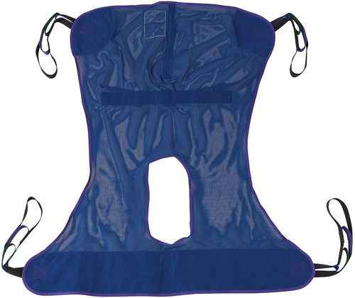 Full Body Patient Lift Sling, Mesh with Commode Cutout, Medium