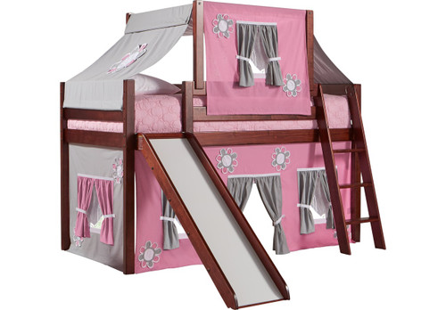 PINK COTTAGE CHERRY JR. TENT LOFT BED WITH SLIDE AND TOP TENT