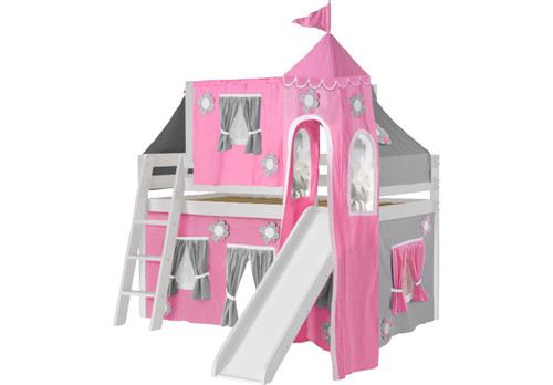 PINK COTTAGE WHITE JR. TENT LOFT BED WITH SLIDE, TOP TENT AND TOWER
