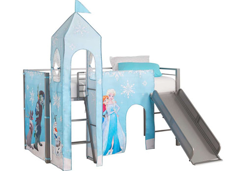 DISNEY FROZEN SILVER JR. TENT LOFT BED WITH SLIDE AND TOWER