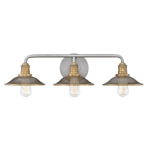 "Hinkley Lighting 5293AN Rigby 3 Light 27"" Wide Bathroom Vanity Light with Mesh Shades"