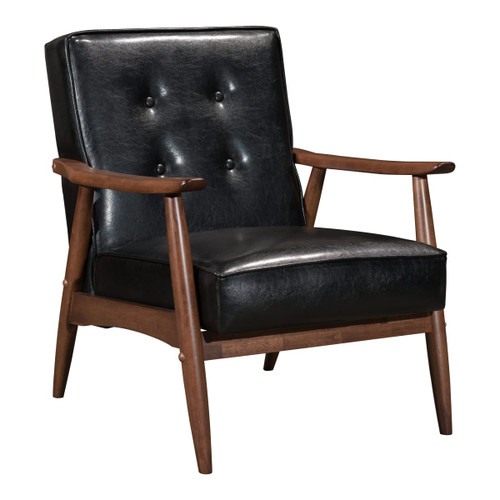 "Zuo Modern 100528 Rocky 27"" Wide Rubberwood Accent Chair with Faux Leather Upholstery and Button Tufting"