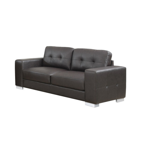 Monarch Specialties I 8223BR 82 Inch Wide Leather Sofa