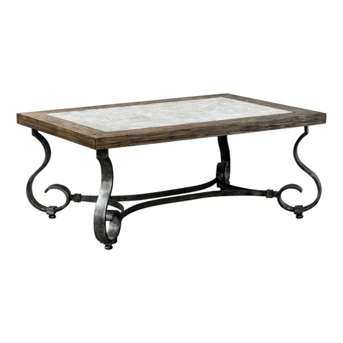 Uttermost 25857 Mona 48 Inch Wide Wood Coffee Table with Iron Base by Billy Moon