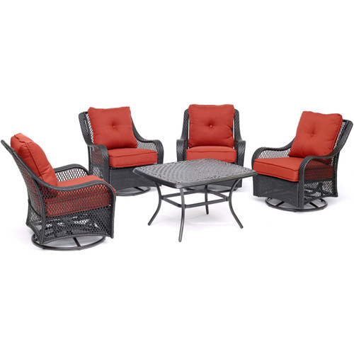Hanover ORL5PCCTSW4-BRY Orleans Four Piece Steel Framed Resin Outdoor Conversation Set with Aluminum Coffee Table