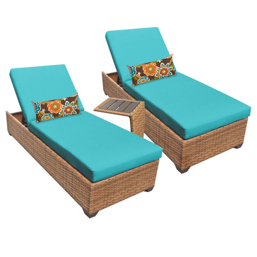 Delacora LAGUNA-2x-ST-ARUBA Southern California 3-Piece Aluminum Framed Outdoor Chaise Lounge Chair Set with Side Table