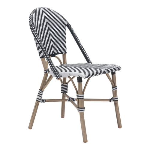 "Zuo Modern 703805 Paris 17"" Wide Faux Bamboo French Bistro Dining Chairs with Synthetic Basketweave on Seats and Backs - (Set of 2)"