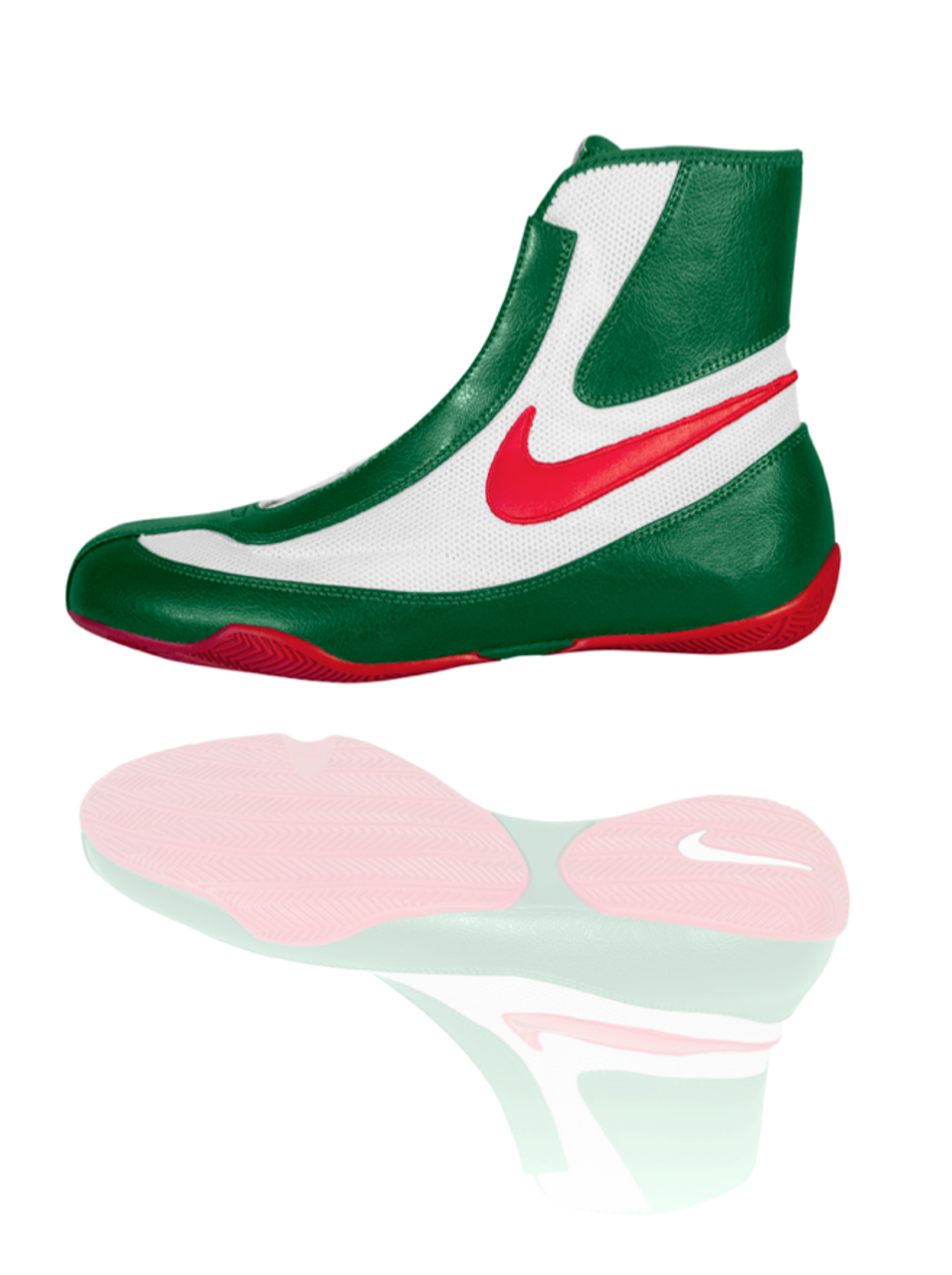 04e1056920e NIKE Machomai MID TOP Boxing Shoes - Green   White   Red Color - PROGEAR