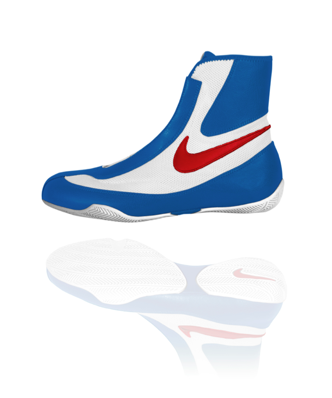 NIKE Machomai MID TOP Boxing Shoes - Red   White   Blue Color - PROGEAR 6c4c799f5