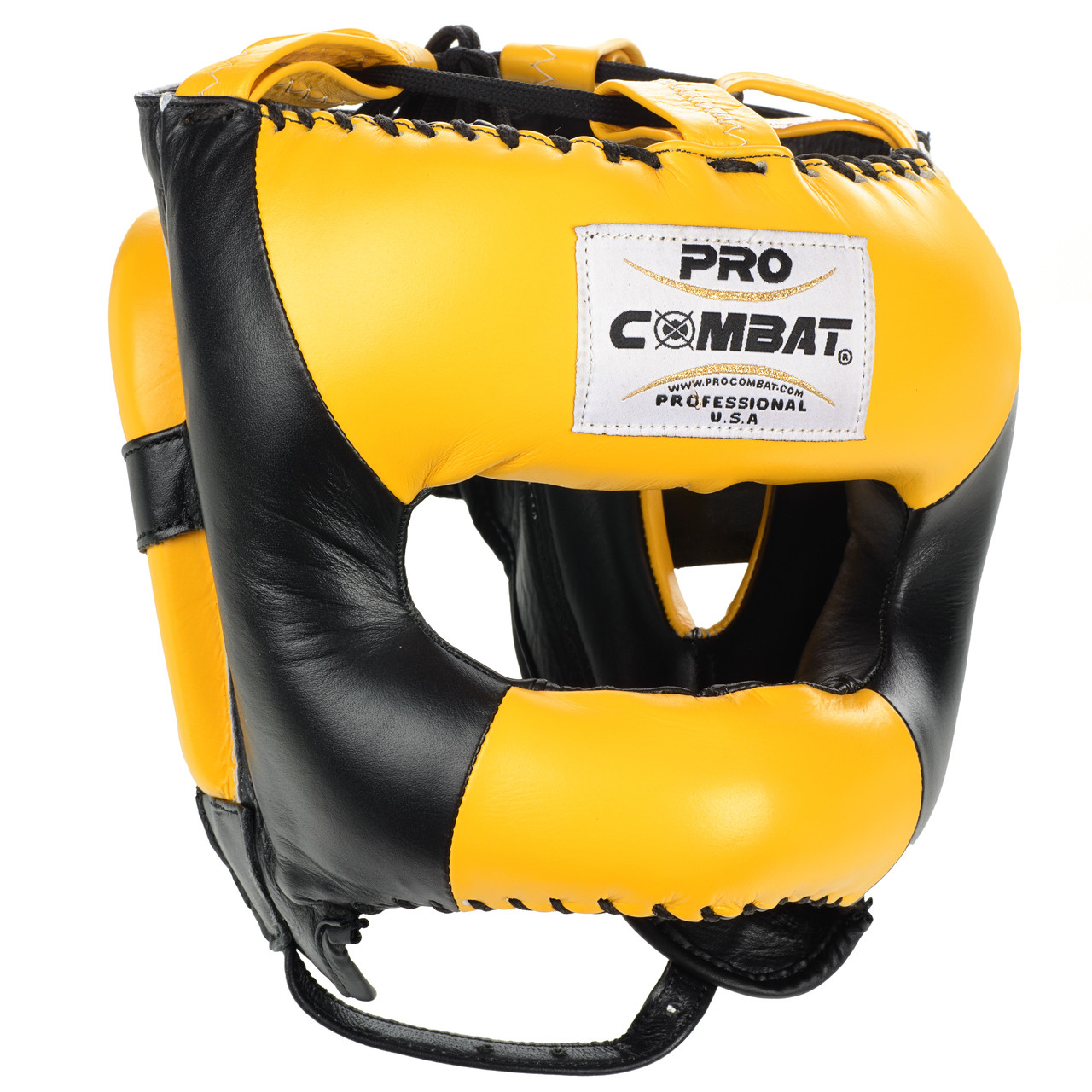 aed17b37a PRO COMBAT® Face Saver Leather Boxing Headgear with Nylon Face Bar - Black  / Yellow