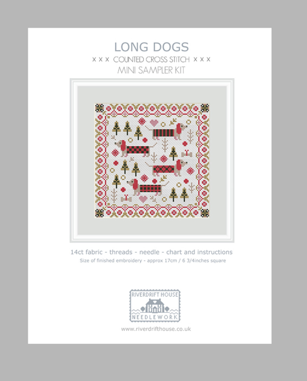 MINI LONG DOGS COUNTED CROSS STITCH KIT by RIVERDRIFT HOUSE